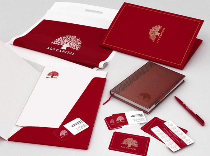 Блокнот, ручка, визитка, логотип, сайт компании