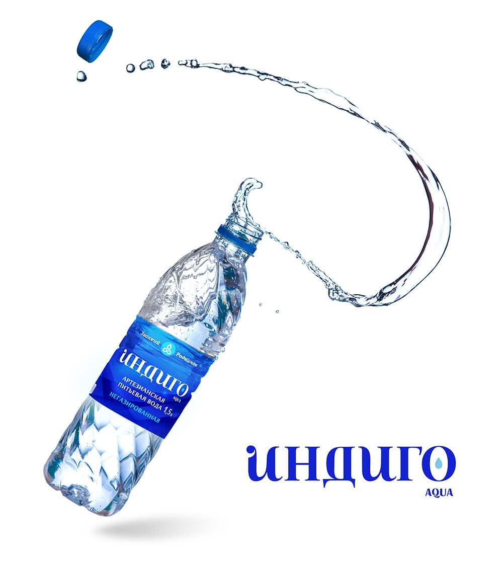 Создание этикетки для воды Индиго