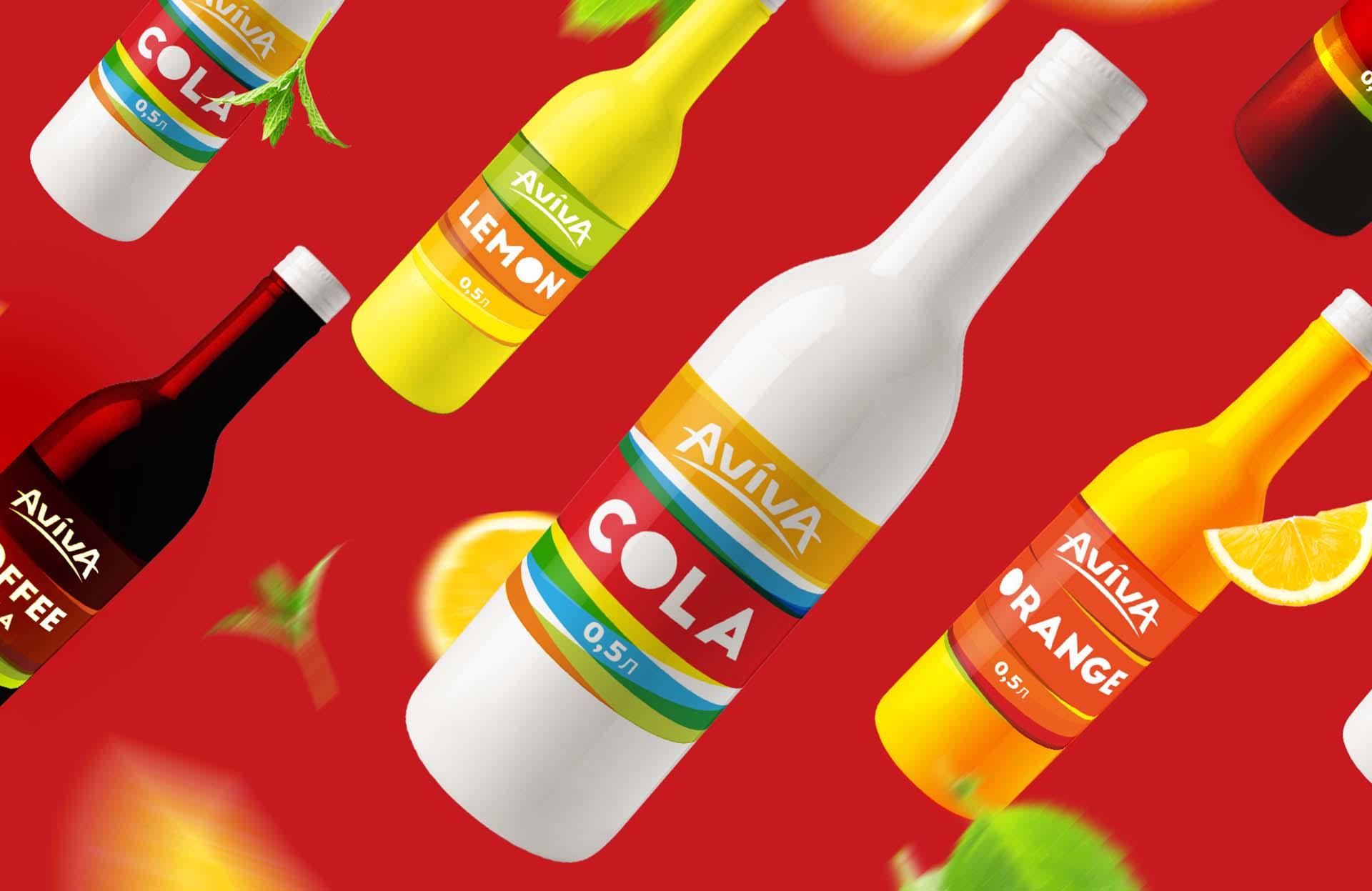 Дизайн этикетки Coca Cola Aviva