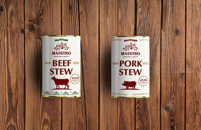 разрабокта упавовки для тушенки, тушеной свинины и говядины