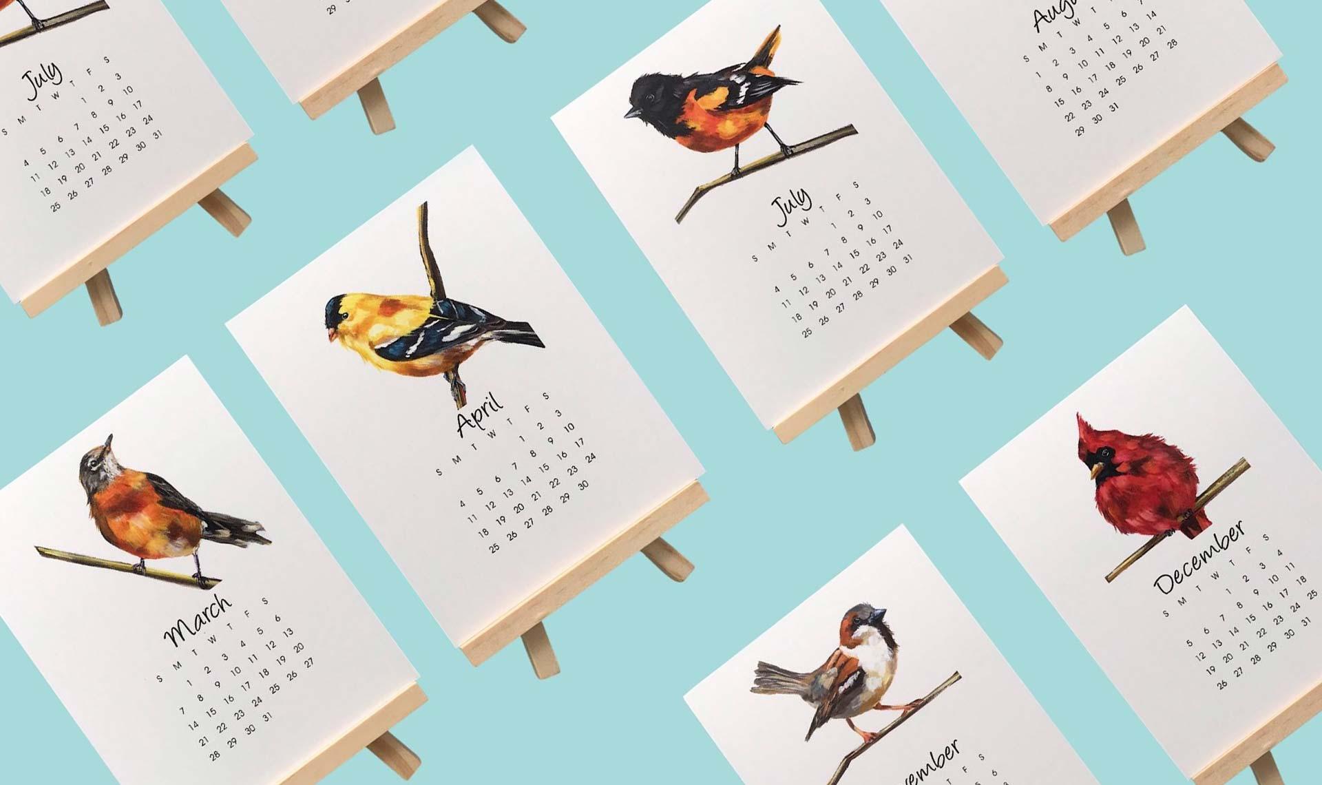 дизайн настольных календарей мольбертов
