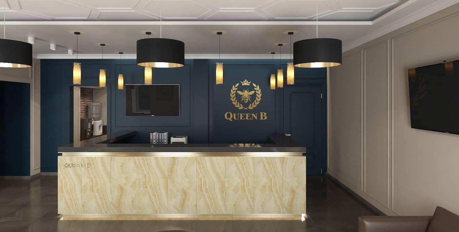 """дизайн логотипа для отеля """"Queen B"""" Киев"""