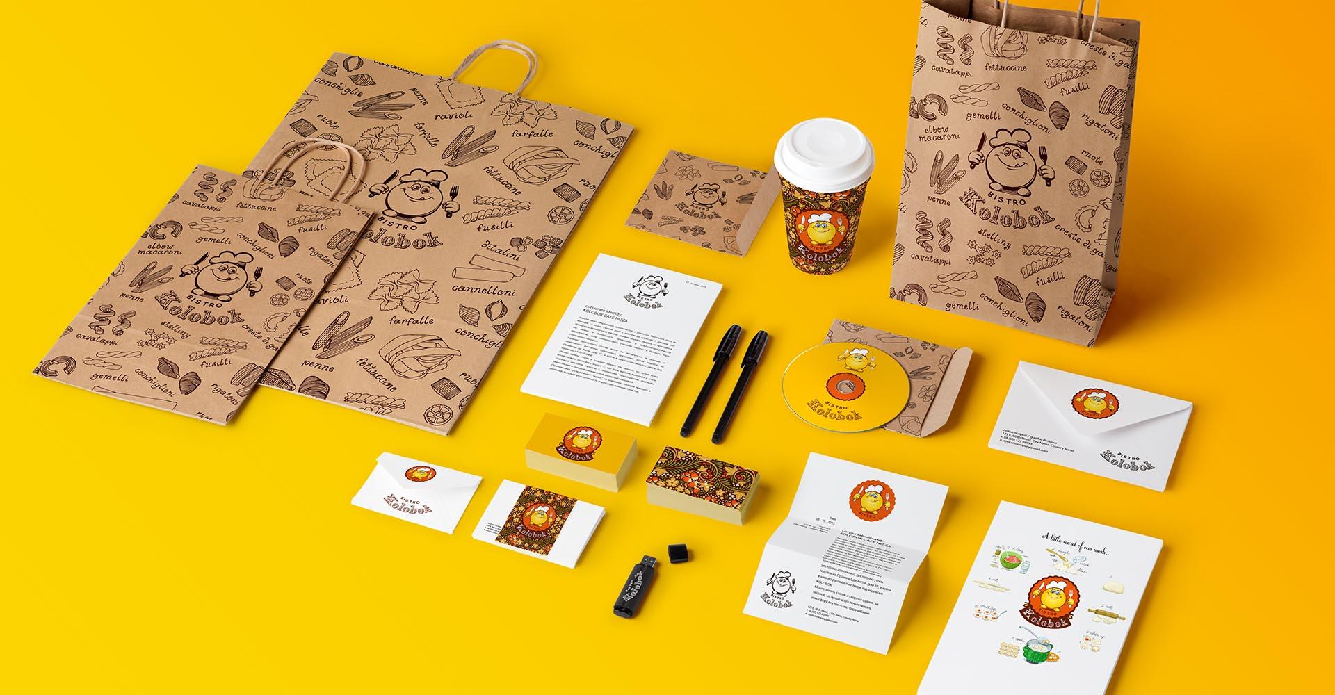 дизайн для кафе, визитка, бланк, конверт